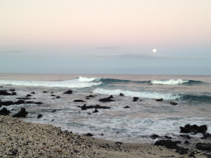 Figure 1. Sunrise on the Big Island. It's so beautiful, the moon doesn't want to leave. January 2015.