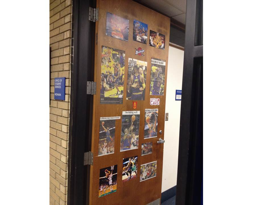 Figure 2.  The Case Western Reserve University School of Nursing is All In!  This woman should win a prize for best decorated door.