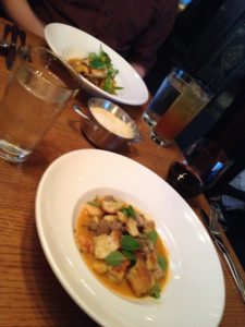 Figure 3. Others dared to order non-meat: scallops (background) and gnocchi (foreground).