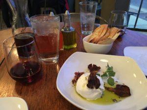 Figure 4. Mozzerella and cream? Yes, please! Vero's burrata, oyster mushrooms, crispy speck, bread.