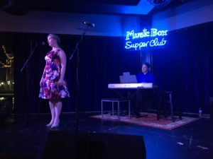 Figure. Claire Connelly, soprano, on Opera Night at the Music Box Supper Club. Yes, I see the piano player, but I forgot his name (sorry!).