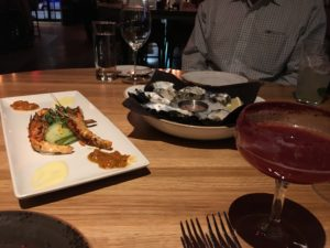 Figure 4. Charred octopus and a side of oysters.