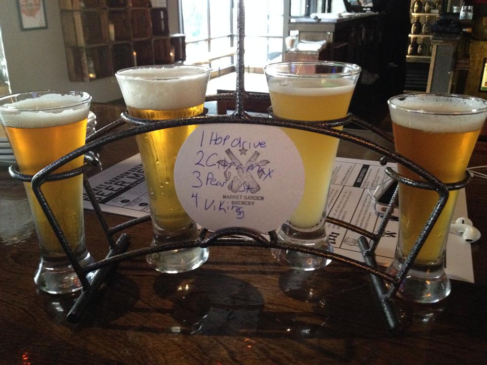 Figure.  Market Garden Brewery sampler, October 2014.  How fancy!