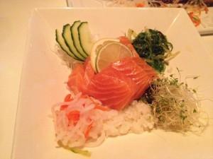 Figure 6. Salmon sashimi. Surprisingly fresh!